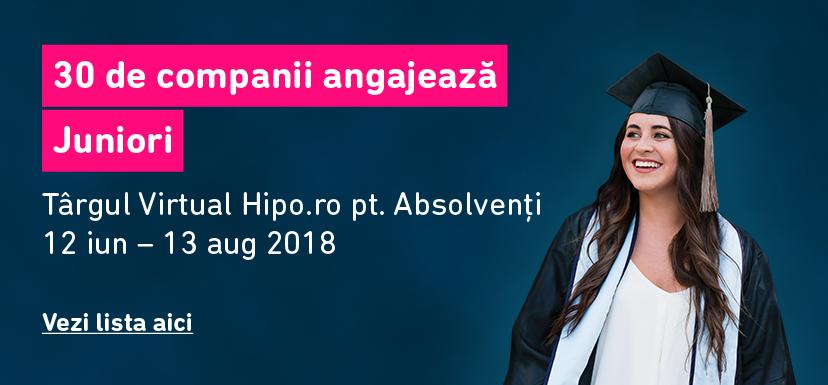 33 de companii de top recruteaza Juniori la Targul Virtual Hipo.ro pentru Absolventi